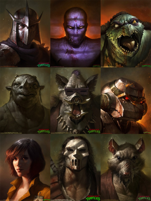 "justinrampage:  Dave Rapoza threw down his entire collection of TMNT illustrations for Autumn Society's related ""Shell Shock"" show on June 3rd. Also, Series 2 of his signed 18"" x 24"" prints are available to pre-order (More Details). See more of Dave's stellar illustrations HERE. TMNT Portraits by Dave Rapoza (CGHUB) (deviantART) (Twitter)"
