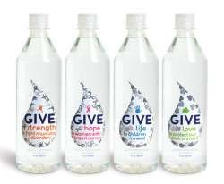 """GIVE Water is a fast-growing beverage brand on a mission. Consumers can  choose from four varieties of GIVE: GIVE Hope, to women with breast  cancer; GIVE Love, to protect our environment; Give Strength, to fight  muscular disorders; GIVE Life, to children in need. Each bottle sold  puts 10 cents in the pocket of a local charity focused on one of the  four causes."" The excellent branding work behind these charitable bottles of water is the handiwork of the design company Little Big Brands, and you can get more information about the re-design here."