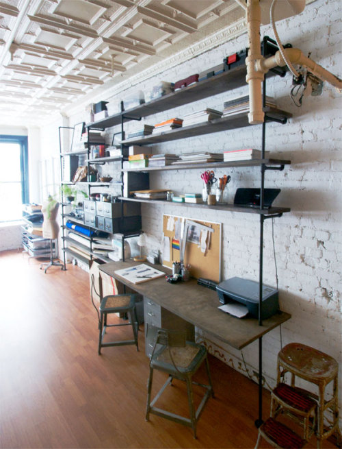 beautiful-soup:  colossal pipe & wood shelving/workspace via manhattan nest. click here for the low down on how it was made