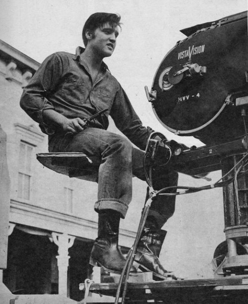 While filming Loving You, 1957. He was fascinated with the film industry — so sad he never got as far as he had dreamed.