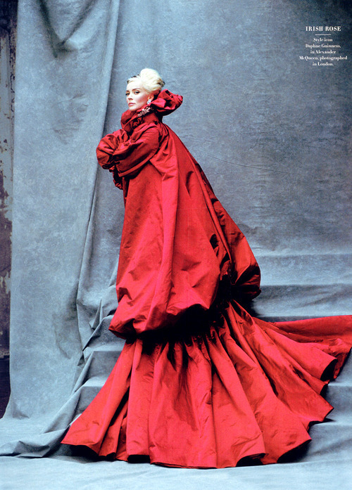 Irish Rose Daphne Guinness,in Alexander McQueen, in London. Photograph by Michael Roberts.