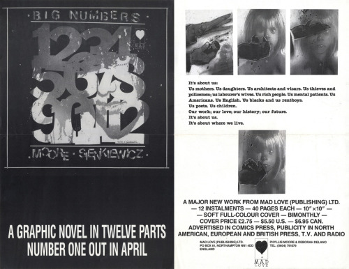 Rare art of the day: Double-sided promotional poster for Big Numbers #1 by Alan Moore & Bill Sienkiewicz, 1990.