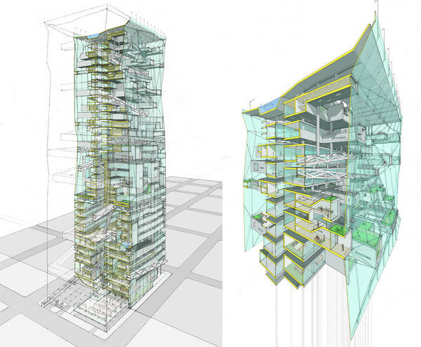 PARK TOWER by LTL Architects Winner, AIA New York Chapter, Design Merit Award, Projects, 2005  Mixed-Use Tower 2004 Venice Architecture Biennale U.S. Pavilion Venice, Italy Exhibition: September 12 - November 7,2004 Using the promised future of clean and quiet hydrogen fuel as a catalyst, Park  	Tower enables occupants to drive up the skyscraper without noxious fumes or  	excessive engine noise, transforming the time-consuming suburban commute into  	the seductive urban ascent, complete with panoramic views and urban garden stops.  	While employing a commonplace mix of programs - retail space on the ground level,  	hotel and office space in the middle, and residential on the top - Park Tower  	combines in the manner of a double helix a new intertwining of a continuous  	drive-through parking garage and a sandwich of occupiable architectural space.  	The sectional matings of each program's function and parking are maximized, using  	the specific ratio of parking-to-program type to establish the rules of exchange.