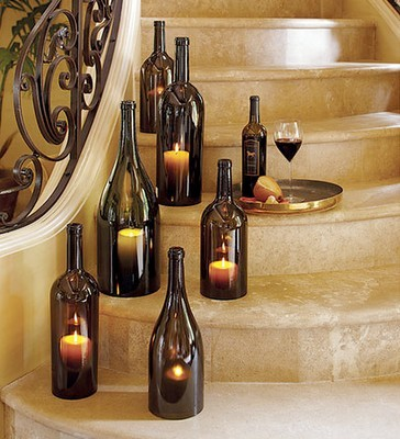 diy wine bottle candle holders