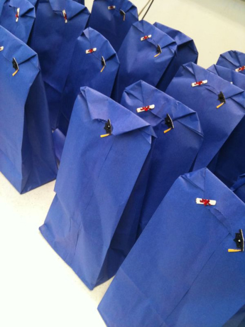 roughdrafts1:  Goody bags for my seniors! I like to do something special for my seniors on the last day of classes. I do different things every year, depending on who the kids are and what sort of resources I have at the time. This year, I made the goody bags in the picture. I was inspired by ohmuffins' post about the bags she had made for her students. I made goody bags a few years back and figured it would be a good thing this time around since I only have 26 seniors.    So I wrote them a letter (see below) and included 13 items, one for each year K-12. I photocopied the poem for them, excluding a particular line that I thought was distracting. About half of my students (including boys) started crying, they were so touched. I cried too. It's been a tough love kind of year.   A Letter to my Students, on the Last Day of Class: Over this past year, your senior year of high school, you have carried on through moments of triumph and despair, happiness and pain, laughter and anger. All these moments have helped you become the people you are today. I have been your teacher and sometimes your confidant through some of these times: We have laughed; we have cried; we have worked together; we have danced. When I look at you, I see so much promise in each of you. Thank you for all the lessons you taught to me, and all the good times we shared.  I would like to share a little with you. If you look in your goody bag, there you will find a motley assortment of things that on their own have little intrinsic value, but each represents an idea or a hope I have for you as you continue to carry on, into the great unknown that stretches before you. So many wonderful things await you. This ending is just the beginning.  1.    Bookmark- I hope you make reading a part of your life and that you find enjoyment and satisfaction in it. 2.    Candle- May you always have a light to guide you through dark times, and that each candle on your birthday cake represents another good year behind you and a happier one to follow.  3.    Rubber band- I hope you stretch yourself to explore your talents and interests. 4.    Bandage- Life sometimes involves pain, and I hope there is always someone there who will help you when you fall, just as I hope you will help others in need. 5.    Ball- May you always have fun, bounce back from adversity, and seek new heights. 6.    Marker- Go forth and make your mark upon the world boldly and confidently. 7.    Eraser- Mistakes will be made but I hope that they are never so great as cannot be erased or made up. 8.    Toothpick- I hope you pick your words carefully so you won't have to worry about your mouth. 9.    Pom-pom – May you be cheered by a warm, fuzzy feeling whenever you need it most.  10.Kiss- I hope you find a love that will sustain you and inspire you throughout your life.  11.Smarties- Because you are so smart, you will know what to do. 12.Penny- Change is often overlooked, but a little change is good and sometimes all that you need to get ahead. 13.A Poem- I hope you enjoy it as much as I do.  Your devoted teacher, Ms. T  I LOVE THIS.