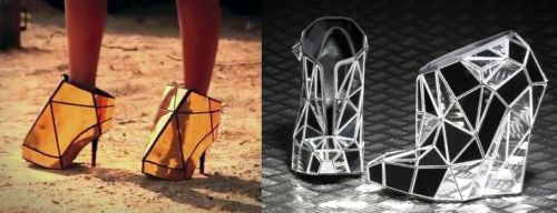 "Mmm, are these shoes I spotted in Beyoncé new video Andreia Chaves ""Invisible Shoes"" or just a rip-off? Here are all the high fashion outfits in ""Run The World (Girls)"""