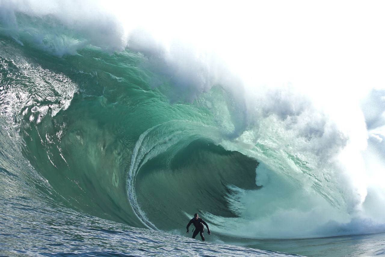 Photo of the DaySurfer Tyler Hollmer Cross of Australia rides an 8-metre wave at Shipstern Bluff near Hobart in Tasmania. According to local media reports, surfers were towed by jetski into one of the biggest swells seen at Shipstern Bluff, formerly known as Devil's Point, in 10 years. (andychiz.com/Reuters)