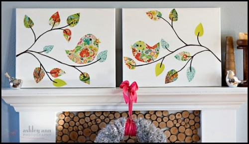 I really love this DIY paper bird painting (by Ashley Ann Photography). It's easy enough for anyone to do and looks great!