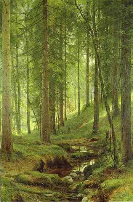 "Ivan Shishkin ""Stream by a Forest Slope"""