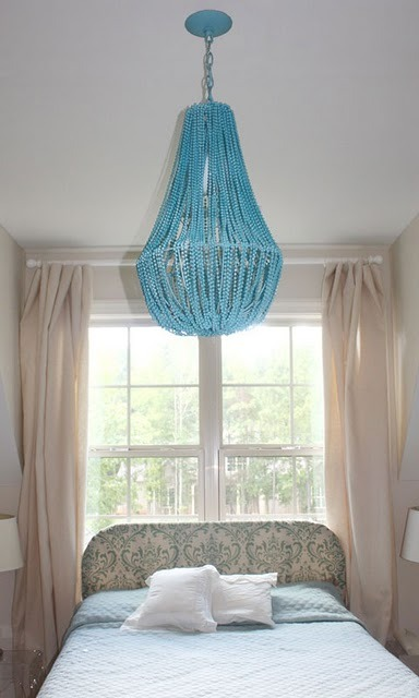 DIY Beaded Chandelier (by Gus and Lula). Not only does this look awesome, it's also quite simple and almost all of the materials can be found at the dollar store!
