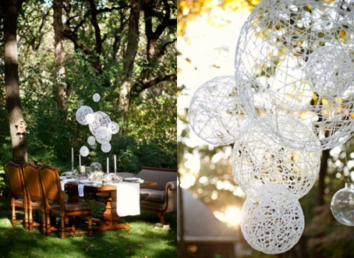 "Isn't this DIY String Chandelier (by Ruffled Blog) just awesome!? I'm in a chandelier type mood if you couldn't tell. This one is very similar to the ""Hemp Pendant Lamp"" that I posted a few days ago. This one is a bit messier but just as awesome as the other one."