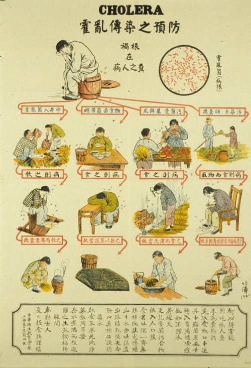 Japanese public health poster on the spreading of cholera and how to stop it.