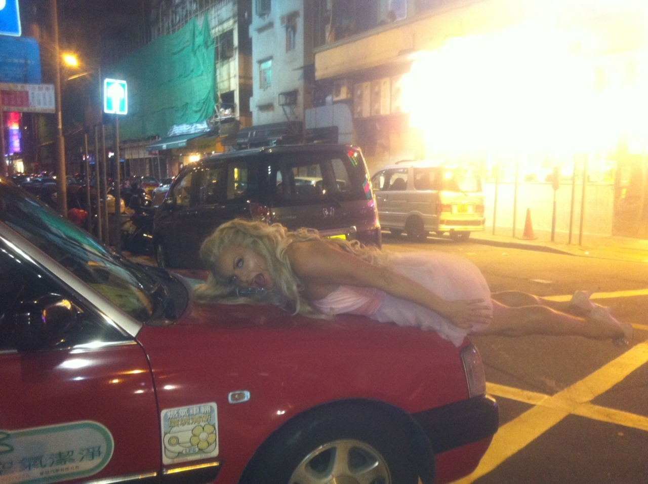 This is me planking on a taxi in Hong Kong… the only down side is I left my suit case containing EVERYTHING, all of my makeup, dresses, wigs, MY GRATITUDE JOURNAL in the boot of the taxi! THIS IS WHY PLANKING IS DANGEROUS KIDS!