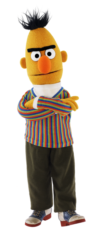 Bert can't seem to find a pair of puttee-styled socks.  via sesamestreet