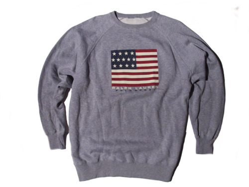 POLO RALPH LAUREN SILK-SCREENED FLAG CREWNECK