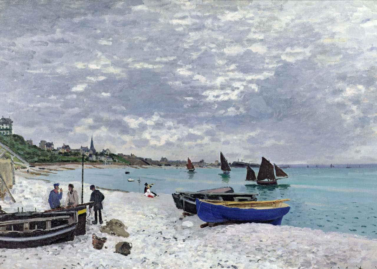 Claude Monet: The Beach at Sainte, Adresse, 1867, The Art Institute of Chicago. Thank you, amare-habeo.