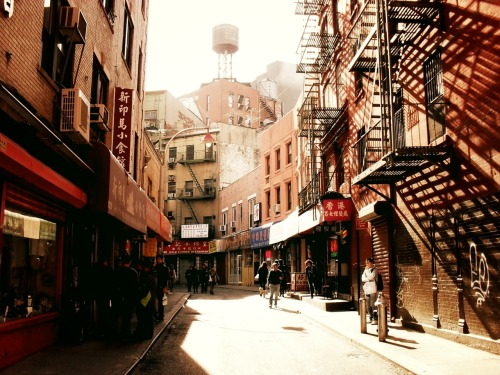 Doyer's Street between Pell Street and Chatham Square. Chinatown, New York City.  There is a brief interview/profile of me up on on Block Avenue currently. Block Avenue is a cool new site that allows users to review blocks, intersections and neighborhoods in New York City.   My favorite block in Manhattan changes constantly but Doyers Street has always been in my top 5. I wrote about the street on Block Avenue here: Doyers Street . Here is the link to my short interview/profile :  Talking Blocks With Vivienne Gucwa  Enjoy :)   —-  You can now also purchase my photography on a wide variety of merchandise (t-shirts, magnets, postcards, iPhone/iPad cases, posters, the list goes on). To view all of these  New York City gifts and products at my store, click here.