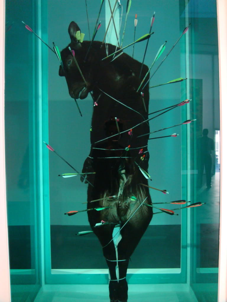 Damien Hirst - St Sebastian  Damien Steven Hirst[1] (born 7 June 1965) is an English artist, entrepreneur and art collector. He is the most prominent[2] member of the group known as the Young British Artists (or YBAs), who dominated the art scene in Britain during the 1990s.