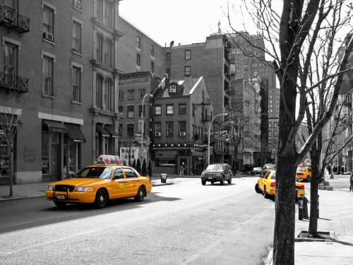 Yellow Cab Near Kenn's Broome Street Bar