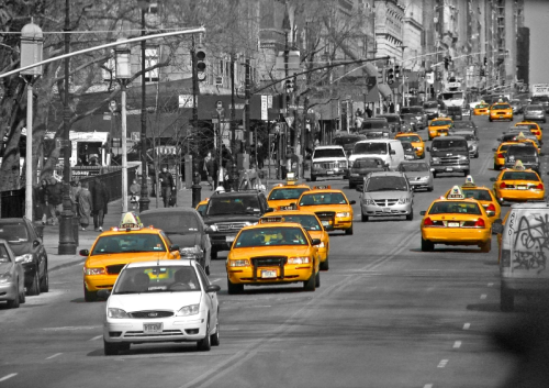 Yellow Cabs on the Road
