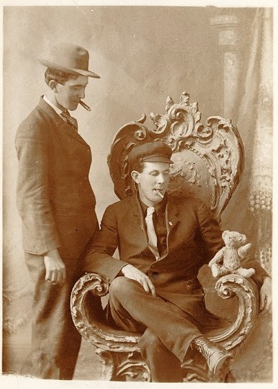 Two men and a Teddy Bear - c.1915