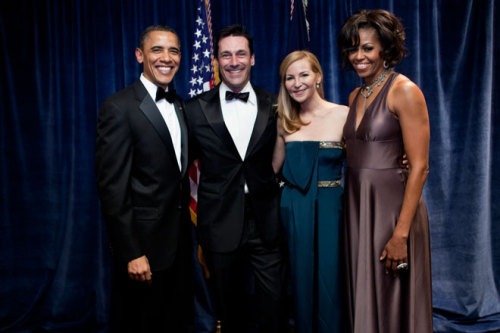 emotionswithjonhamm:  Obama's smile is bigger than Jon Hamm's smile, therefore the president is more excited to meet Jon Hamm than Jon Hamm is to meet the president.
