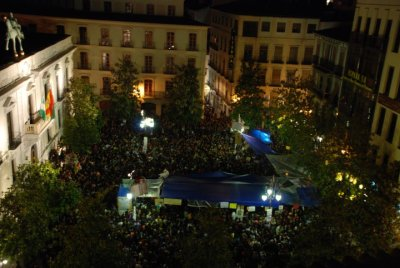 Plaza del Carmen, Granada, Spain. May 21, 2011.  More than 3,500 people have joined in Granada tonight the protests that started on May 16, claiming for a more fair, transparent, and democratic system. A beautiful picture of a beautiful dream.  You can join us: go to the streets and rise up (there've being demonstrations all over Europe), or just reblog and spread the word.  The Times They Are A-Changin'  Photo by Jara León González (via Photos from ACAMPADA GRANADA)