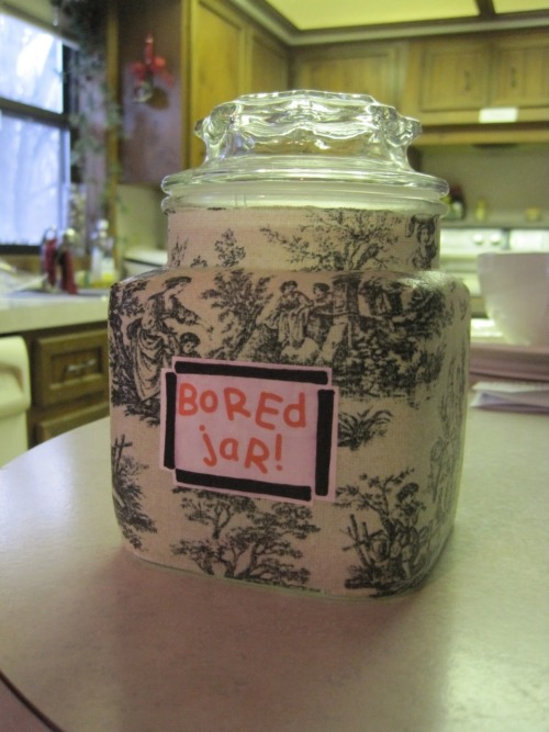 "This is the ""Bored Jar"" (by shaydesoflife). I say that phrase way too often so when I found this neat idea I thought it was perfect (: It's a jar full of different things to do ranging from clean your room to go out for an ice cream. Now whenever I'm bored I can just pull out a slip of paper and I'll have something to do (:"