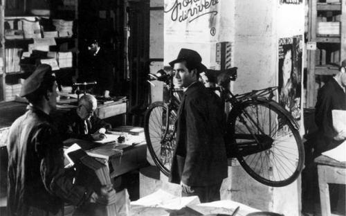 "youmightfindyourself:  Bicycle Thieves - The film centers around a man named Antonio Ricci who is unemployed in post-WWII Italy. He is desperate for work while having to support a wife and two children. After a little searching, he finally gets a job putting up posters, but there is a catch. He must have a bicycle to ride in order to get the job done and is told ""No bicycle, no job."" His wife Maria pawns their bedsheets in order to be able to afford a bicycle from the pawnbroker. However, not long after he gets the job, his bicycle is stolen by a young thief as he is putting up a poster. He goes to the police, hoping that they will take this theft seriously, only to be surprised that they choose not to go after something of the sort. He tells his friends and they look for the bicycle with him resulting in no such luck. Eventually, he and his son go to a restaurant and he tells him that if they do not find the bicycle, they will starve. He then requests additional help in a desperate search for his bicycle which will determine he and his family's livelihood."