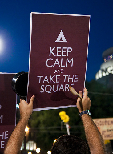 spanishrevolutionishere:  KEEP CALM AND TAKE THE SQUARE. Barcelona.