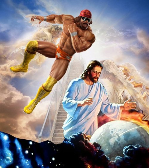 Thank you, Randy Savage. mysterialist:  This is one of the greatest things in the history of things. herblondness:  And lo, it came to pass that Macho Man Randy Savage did prevent the impending rapture.  Amen. (I totally stole this from my cousin's FB post.)