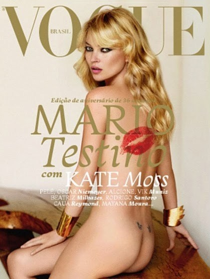 Kate Moss on the cover of Vogue Brazil May 2011. Liking the cheeky tatts above her bum!