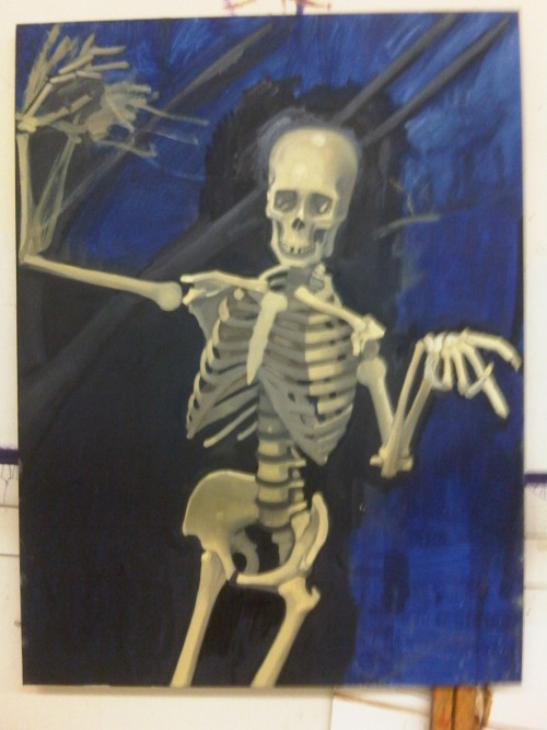 "Here's a progress shot of my current painting of ""The Dance of Death""."