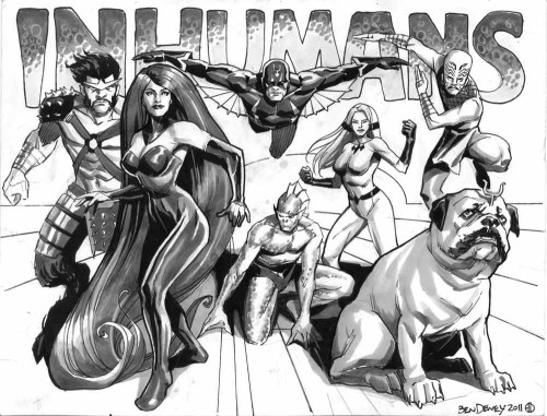 "An Inhumans sketch, drawn by Ben Dewey. Ben has been busy doing gorgeous lineart for a Dark Horse Star Wars project, but he likes to sneak in warm-up sketches like this one. It's The Inhumans:  Gorgon, Medusa, Black Bolt, Triton, Crystal, Karnak, and their giant teleporting bullbog, Lockjaw.  The original art is 8.5 by 11"" and was drawn on sturdy 2 ply bristol with graphite, india ink, grey-toned marker and white gouache. It might still be available at our Etsy store. The Inhumans were created by Jack Kirby and Stan Lee in Fantastic Four # 45 and are ©Marvel Comics."
