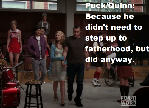 its-not-over-not-yet:  losingmybritches:  As much as Quinn pushed him away, he persisted from the moment he found out she was pregnant.  He didn't have to. Quinn would have been perfectly happy to have him walk away and let Finn take responsibility. But he's a family man. He doesn't want to be like his father.  This isn't why I ship Quick. But it's why Puck is my second favorite character.  ITA. This is why Puck is my favorite.