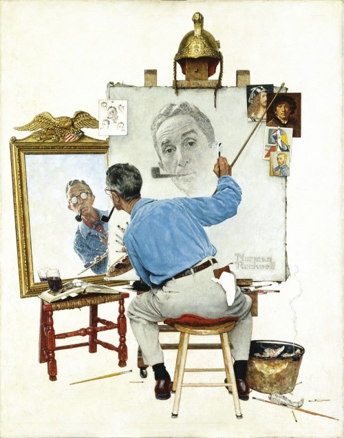 icelandstockexchange:  a triple self portrait painted by Norman Rockwell.