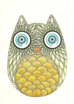 fuckyeahowls:  watercolored and inked owl.