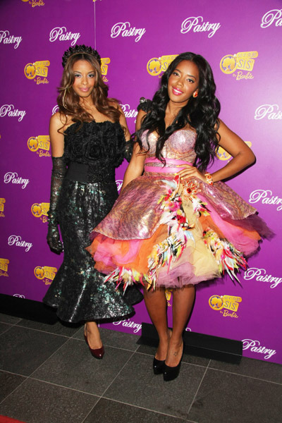 "Young entrepreneurs and fashionistas, Vanessa & Angela Simmons dressed up as Barbies for the launch of Pastry's ""Barbie So In Style"" collection at the SLS Hotel in Beverly Hills. In a deal with Mattel, the girls developed a line of Barbies that are dressed in pastry sneakers and clothes."