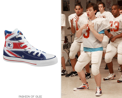 Kurt pays homage to The Who with his fancy footwear. Converse The Who Union Jack Chuck Taylors - No longer available Also worn in: 1x09 'Wheels' with American Apparel hoodie 2x00 'Season 2 Promotion' with Urban Outfitters tank top Look for Less: Delia's sneakers