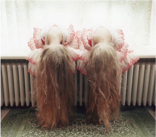 "bruisedlimbs:  ""Erna and Hrefna are eleven-year-old identical twins from Iceland. I started to photograph them when they were nine years old in 2009, and this will be an ongoing project until they are sixteen years old. I will visit them every year. My intention for this project is to capture the very precious period of their growth from child to teenager, physically as well as psychologically. The relationship between identical twins is an interesting subject matter. I often hear that identical twins have telepathic connections. This is true of Erna and Hrefna. They are always together. They almost never fight with each other. Spending time with them, I feel such comfort in their companionship but at the same time I feel strange because I have never seen such a powerful connection between any two human beings. They say to me, 'From time to time, we dream the same dreams.'"""