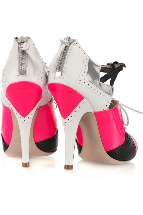 Miu Miu Cutout Leather Lace-Up Heels