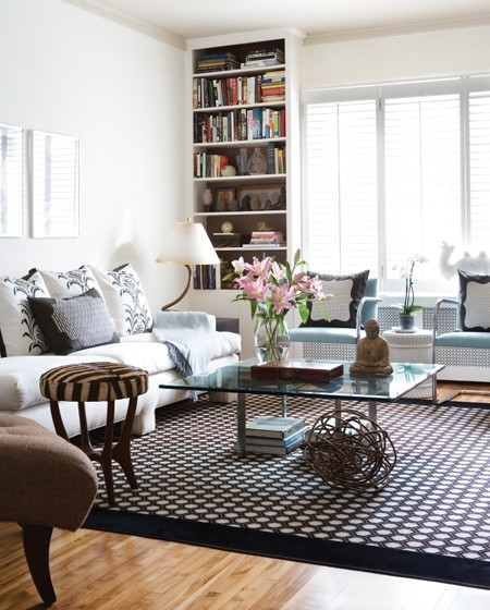 An amazing, contemporary, feminine living room.  Love this!