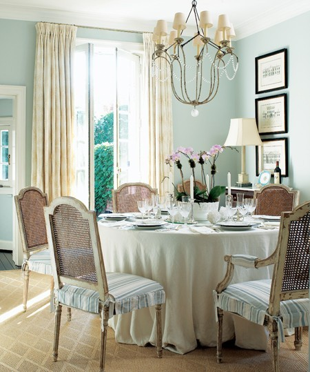 A romantic elegant dining room a little bit of shabby chic.  BUT in a good way!
