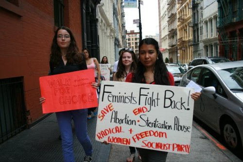 "walkforchoice:  Walk for Choice, NYC. Sign reads: ""Feminists fight back! Save Abortion, End Sterilization Abuse. Radical Women + Freedom Socialist Party."""