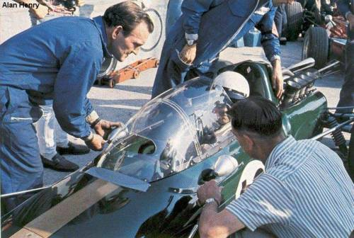 Jack Brabham and the Brabham BT24 at Monza, Italy (1967)