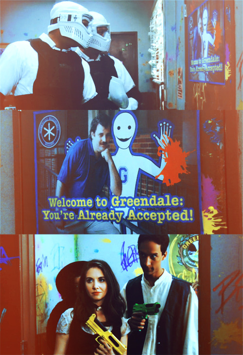 TV Trope: Ironic Echo  Enemy #1: Welcome to Greendale, you're already accepted?Enemy #2: Losers. [Two paintballs shoot through the Dan Harmon cameo poster and hit them - Annie, Abed & Shirley bust open the door]Enemy #1: What the hell?Annie: Welcome to Greendale.Abed: You're already dead. (2.24 For A Few Paintballs More)