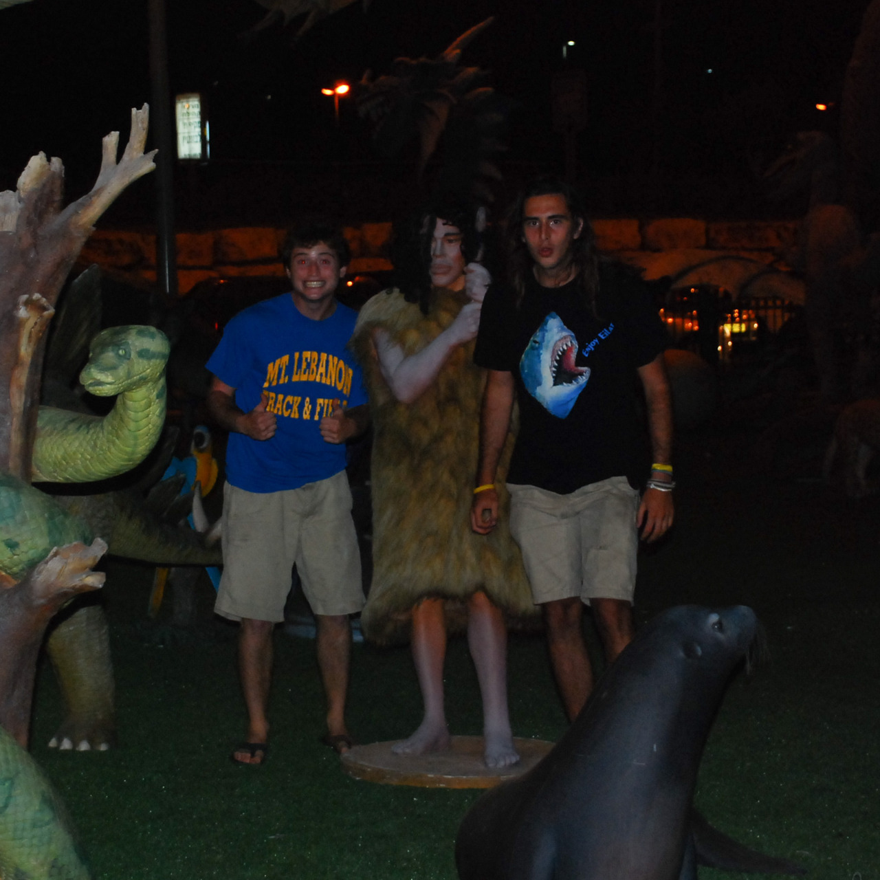 May 20. Aaron, the caveman, and Jimmy outside Cinema City.