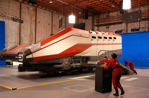 latimes:  Disneyland's new Star Tours ride is light-years better than the original, says Brady MacDonald. Photo: The Starspeeder 3000 transport ship in a Hollywood soundstage during filming for a key sequence for the new Star Tours 2 attraction.. View concept art at the gallery. Credit: Disney   -puts on nerd glasses- um, excuse me, I do believe you mean the Starspeeder 1000, the 'new' model for the Star Tours remake.  -takes off nerd glasses, puts back on bro shades- woah that was weird.
