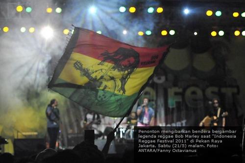 "Drapeau Bob Marley - Indonesian reggae festival 2011 : ""One love, one heart"""