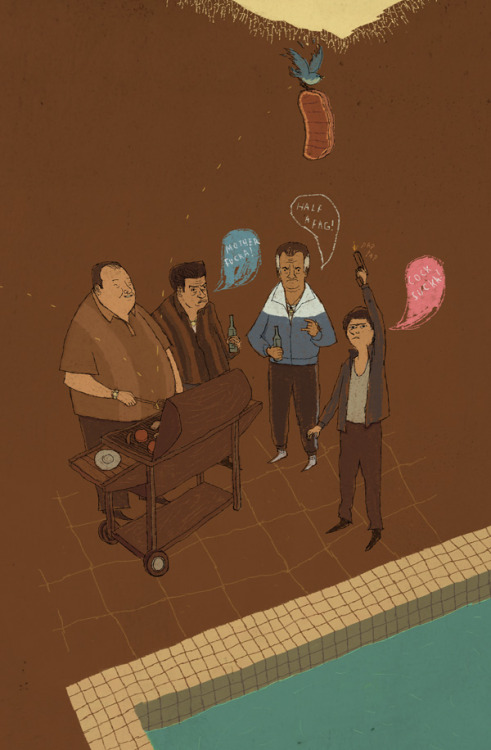 The Sopranos Family BBQ. art by Louis Roskosch :: via louisroskosch.com